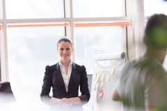 Portrait of young business woman at modern office Stock Photos