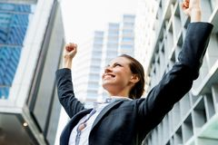 Portrait of business woman smiling outdoor Stock Photos