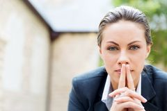 Portrait of business woman smiling outdoor Royalty Free Stock Image