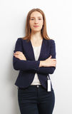 Portrait of young business woman over white Royalty Free Stock Image