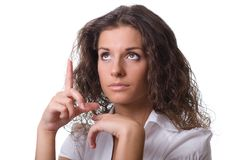 Portrait of a young business woman pointing. Stock Images