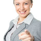 Portrait of young business woman pointing finger at viewer Stock Images