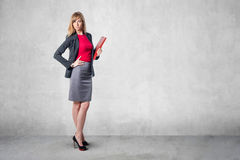Portrait of young business woman with red folder. Gray skirt shirt classical costume standing near concrete gray wall royalty free stock images