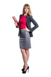 Portrait of young business woman with red folder Royalty Free Stock Image
