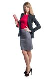 Portrait of young business woman with red folder Royalty Free Stock Photo