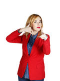 Portrait of young  business woman showing showing hand sign like Royalty Free Stock Photo