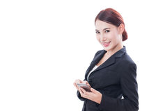 Portrait of young business woman using a mobile phone Royalty Free Stock Photography