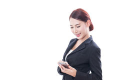 Portrait of young business woman using a mobile phone Stock Image