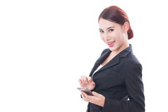 Portrait of young business woman using a mobile phone Royalty Free Stock Images