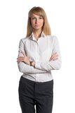 Portrait of young business woman white shirt black Stock Photos