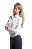 Portrait of young business woman white shirt black Royalty Free Stock Photos