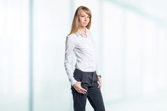 Portrait of young business woman white shirt black Stock Photography
