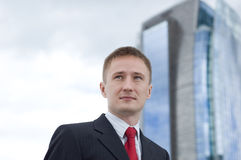 Portrait of a young businessman. Outdoor the office Stock Photography