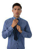 Portrait of young businessman adjusting necktie Stock Images