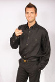 Portrait of young businessman in black shirt stock images