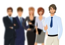 Portrait of young businessman with business team Royalty Free Stock Photography