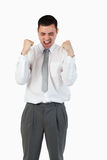 Portrait of a young businessman with the fists up Stock Photography