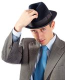 Portrait of young businessman in hat Royalty Free Stock Photography