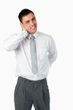 Portrait of a young businessman having a back pain Royalty Free Stock Photography