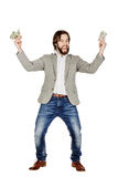 Portrait of young businessman holding and counts money Royalty Free Stock Image