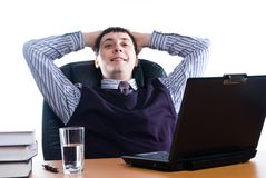 Portrait of a young businessman with laptop Royalty Free Stock Photo