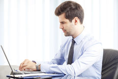 Portrait of young businessman with laptop Royalty Free Stock Photo