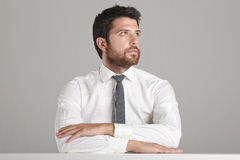 Portrait of a young businessman looking to the side. Stock Photos