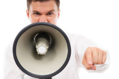 Portrait of a young businessman with a megaphone Royalty Free Stock Photos