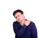 Portrait of young businessman with neck pain isolated on white Stock Photography