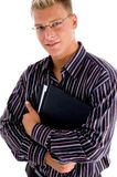 Portrait young businessman with official files Royalty Free Stock Photo