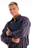 Portrait young businessman with official files Stock Image
