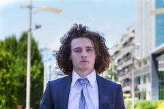 Portrait of young businessman. Outside Royalty Free Stock Photos