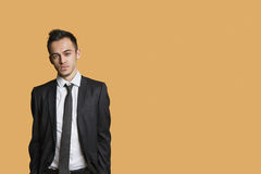 Portrait of a young businessman over colored background Stock Image