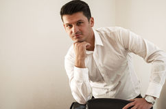 Portrait of a young businessman standing comfortably Royalty Free Stock Images