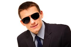 Portrait of young businessman in sunglasses Royalty Free Stock Photo