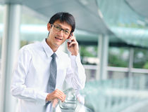 Portrait of young businessman talking with smartphone Royalty Free Stock Image