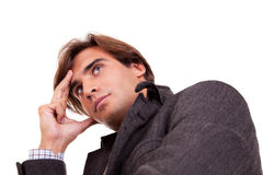 Portrait of a young businessman thinking, in autum Stock Photography