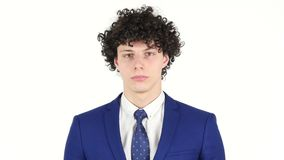 Portrait of Young Businessman, White Background stock video
