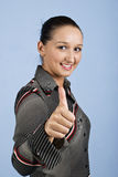Portrait of young businesswoman give thumb up Stock Photos
