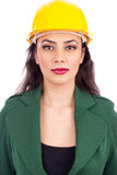 Portrait of young businesswoman with hard hat Stock Photography