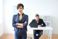 Portrait of a young businesswoman leader. In the office royalty free stock photo