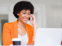 Portrait of young businesswoman with mobile Stock Photo