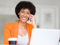Portrait of young businesswoman with mobile Royalty Free Stock Photo