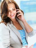 Portrait of young businesswoman talking on mobile Royalty Free Stock Images