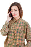 Portrait of young businesswoman talking on mobile phone wearing Royalty Free Stock Photography