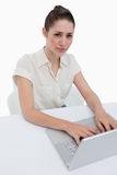 Portrait of a young businesswoman using a notebook Stock Photos