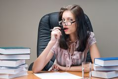 Portrait of young businesswoman on workplace stock photo