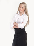 Portrait of young busineswoman standing. Over white background. It is not isolated Royalty Free Stock Photography