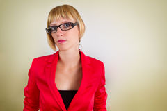 Portrait of young bussines woman with glasses Royalty Free Stock Photography