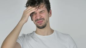 Portrait of Young Casual Man Gesturing Headache, Stress stock video footage